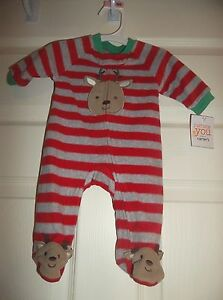 81ae55460bc9 Carters Just One You Boys Reindeer Bodysuit Sleeper -- Size Newborn ...