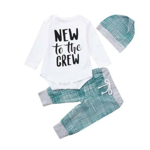 Long Pants Hat Outfits Newborn Baby Boy Girl Clothes Jumpsuit Romper Bodysuit