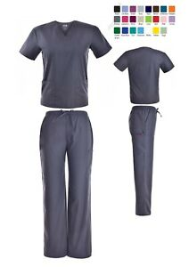 Unisex-Scrub-Sets-Solid-V-Neck-Top-Cargo-Pant-Men-Women-Medical-Nursing-Uniform
