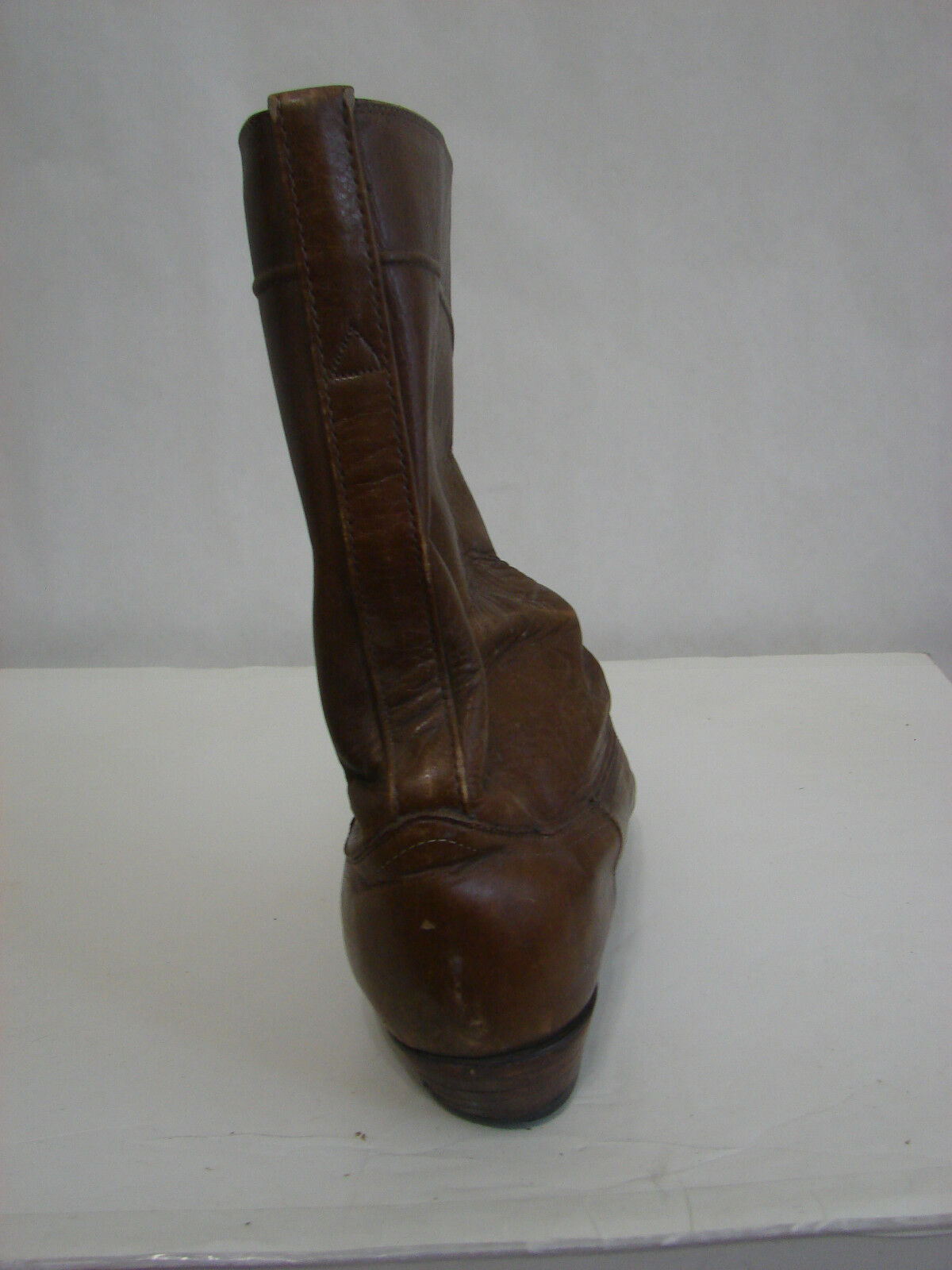 Vintage TOM BROWN Worn Autographed Justin Brown Boot Western Boot Brown 11.5D a85220