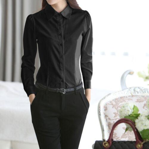 Damen Shirt Hemd Langarm Bluse Casual T-shirt Pullover Bluse Schlank neu