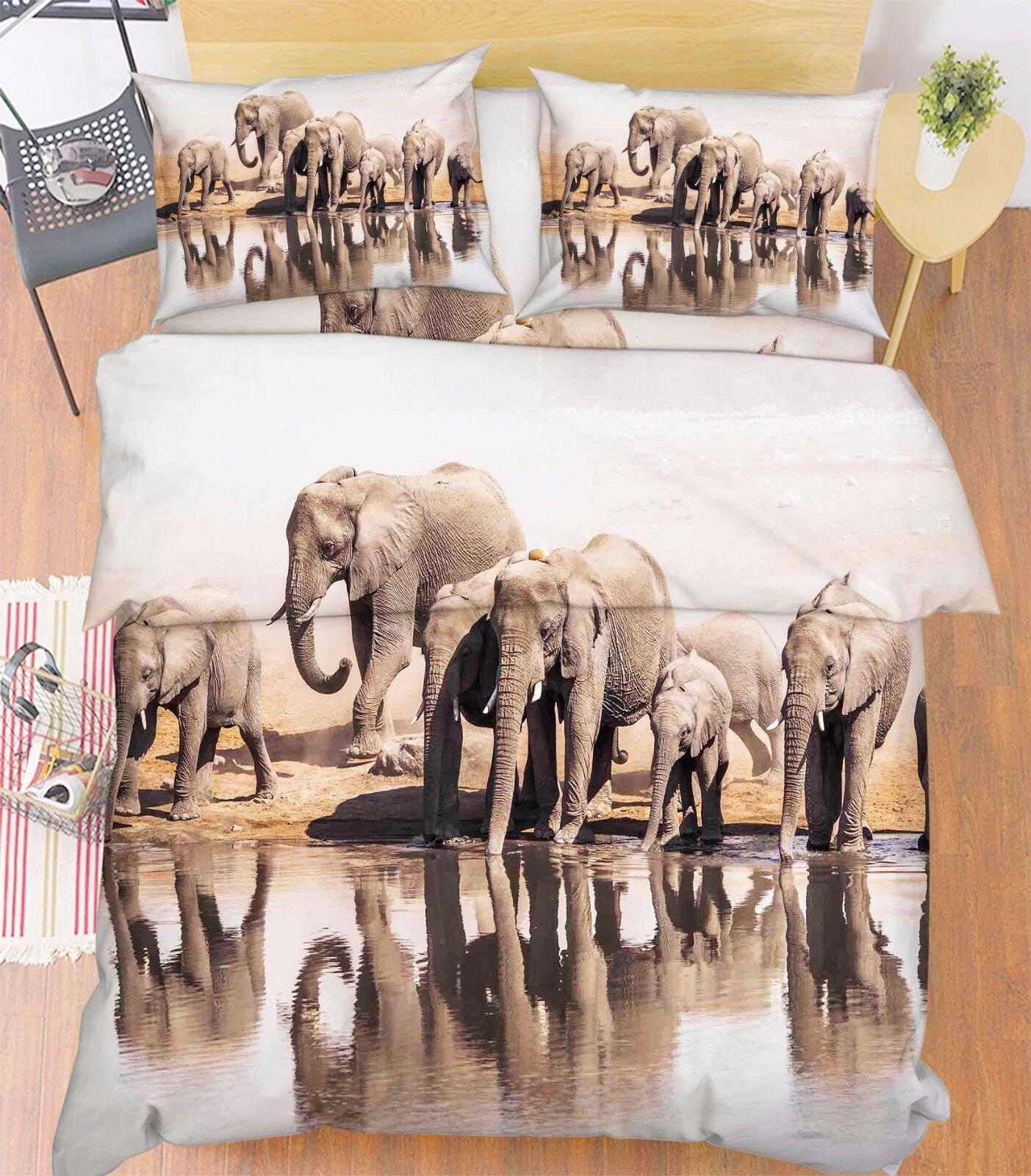 3D Elefanti Lago 12 Letto Federe Trapunta Piumone Copertina Impostato Singolo IT