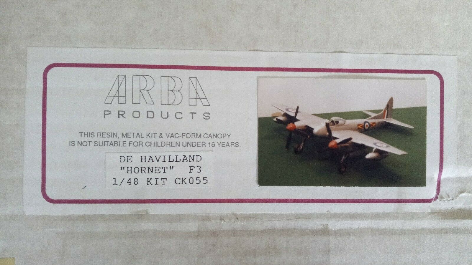 Arba Products 1 48 De Havilland Hornet F3 Resin   Metal Military Aircraft Model
