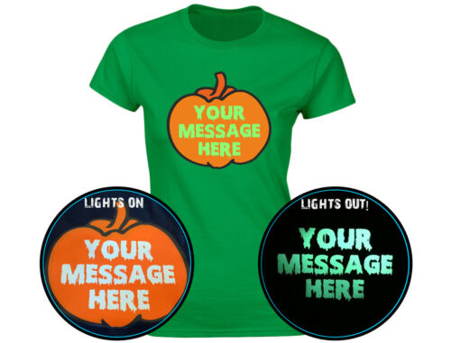 Your Text Halloween Personalised Pumpkin Glow In The Dark Womens T-Shirt 12 Col