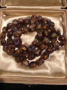 Superb-Long-String-Glass-Necklace-Venetian-Opalescent-Fire-Foil-Rare-Graduated