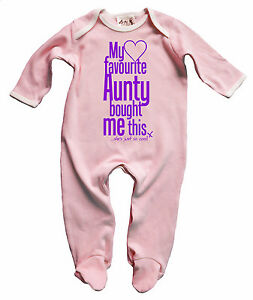 """Dirty Fingers Baby Girl Sleep suit Gift """"My Favourite Aunty bought me this"""""""