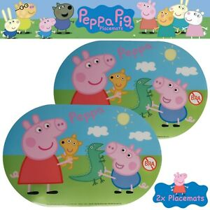 2x-PEPPA-PIG-LARGE-OVAL-BPA-FREE-CHILDREN-039-S-WIPE-CLEAN-PLACEMATS-George-amp-Peppa