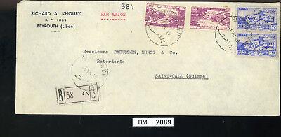 Bm2089, Libanon, 1949, Beyrouth - St. Gallen, Luftpost, Rückseitig Zwangszuschl.