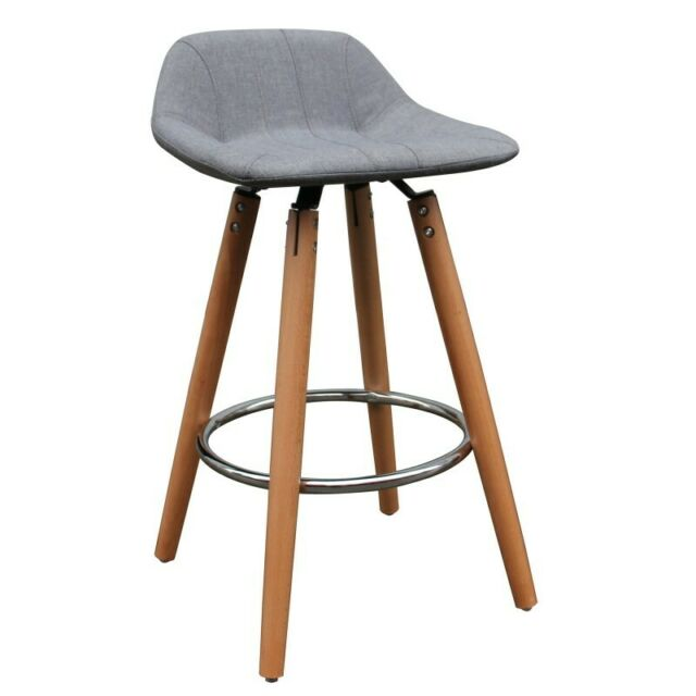 Incredible Sintra Set Of 2 Mid Century Fabric And Wood 26 Counter Stool In Grey Cjindustries Chair Design For Home Cjindustriesco