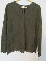 Women's Caribou York Blouse Long Sleeve Floral Punched Army Green Size Xl