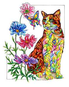 Summer-Cat-with-Butterfly-8X10-CAT-Print-from-Artist-Sherry-Shipley