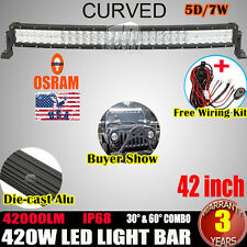 "32INCH 420W CURVED LED LIGHT BAR SPOT&FLOOD OFFROAD 4X4WD ATV SUV+WIRING KIT 30"""