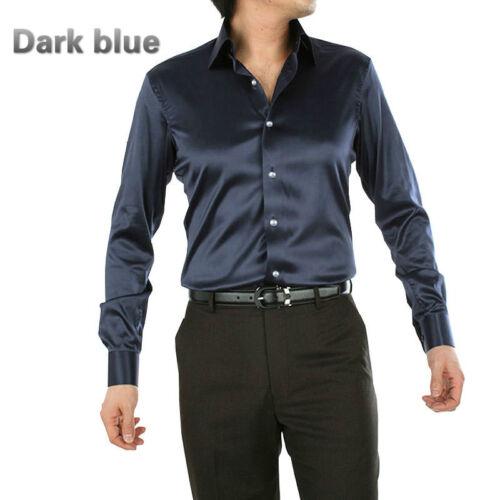 Men Faux Silk Satin Shirt Long Sleeve Button Business Formal Glitter Top Fashion