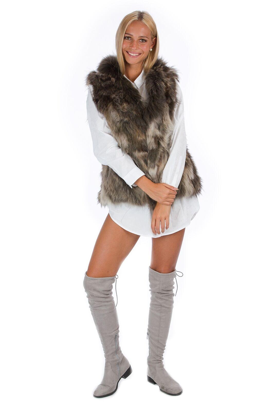 Fuchs Fellweste grau braun Luxus Pelz Unikat Fox Fox Fox Fashion Konfektionsgröße  42 -   Adoptieren    Verrückter Preis, Birmingham    Haltbarkeit    Angenehmes Aussehen    Offizielle  134e3c