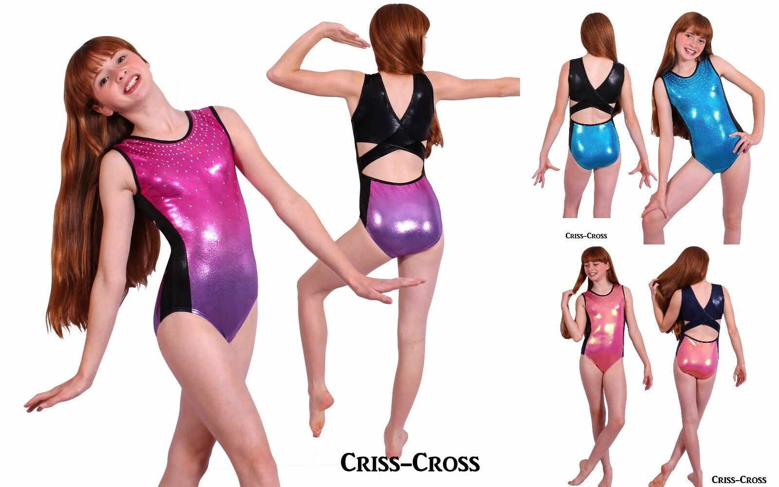 Criss-Cross Girls Mystique Gymnastics leotard with Crystals