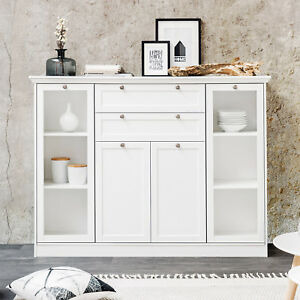 highboard landwood buffet schrank anrichte in wei mit 4 t ren landhausstil ebay. Black Bedroom Furniture Sets. Home Design Ideas