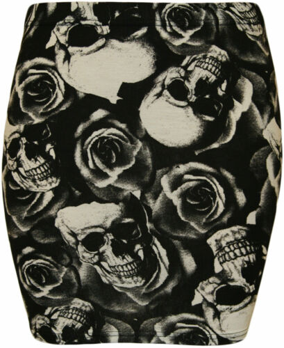 New Womens Ladies Printed Stretch Elasticated Jersey Bodycon Short Mini Skirts