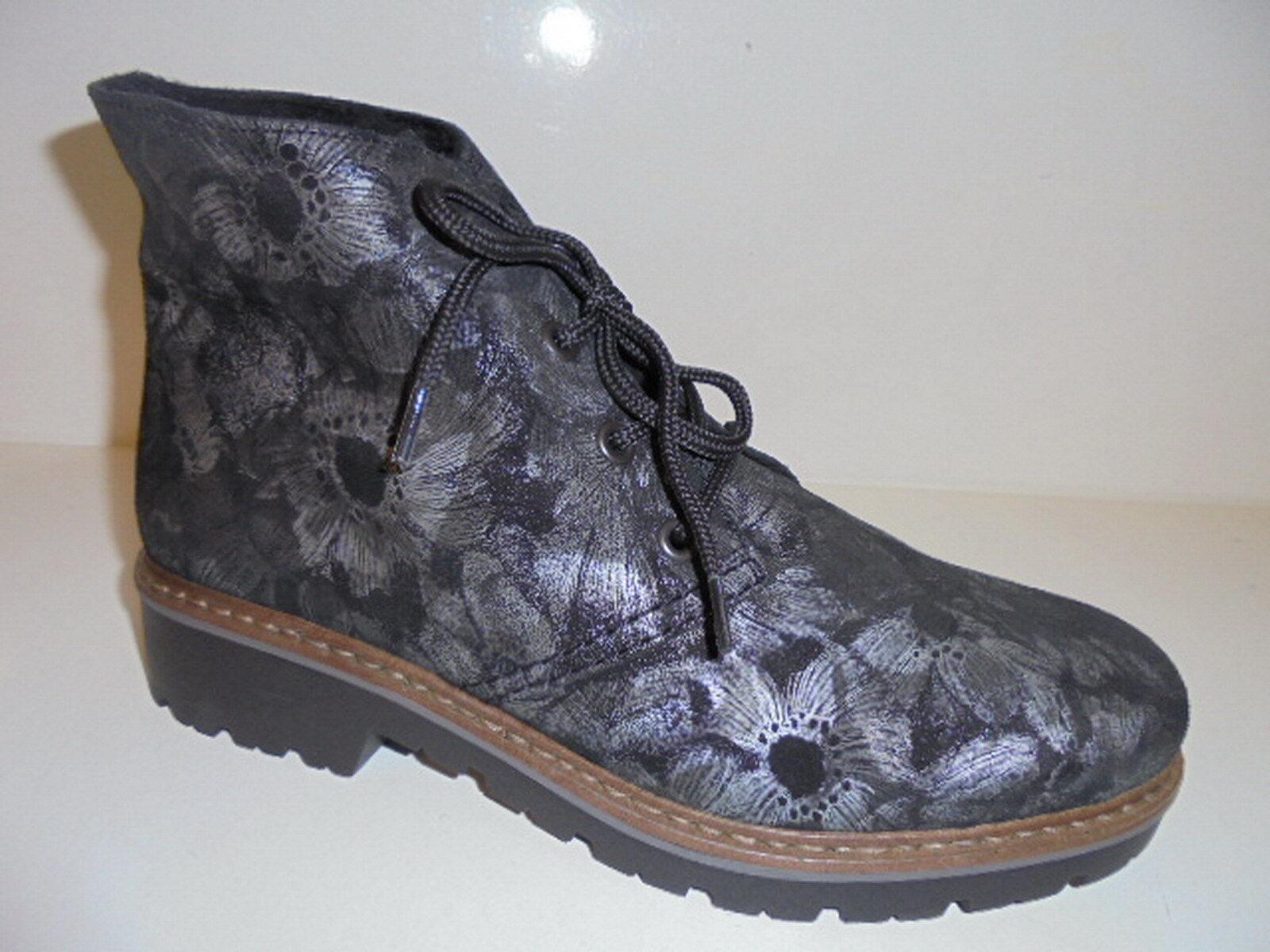 Z4542 RIEKER Damenschuhe Stiefelette Echtleder Stiefel schwarz-grau Gr. 37