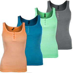Womens-Ribbed-Cotton-Vest-Top-Sleeveless-Strappy-Stretchy-Plain-New-T-Shirt-Tee