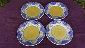 """4 Caleca Collinia Salad Luncheon Plates Hand Painted In Italy Pottery 9.5"""""""