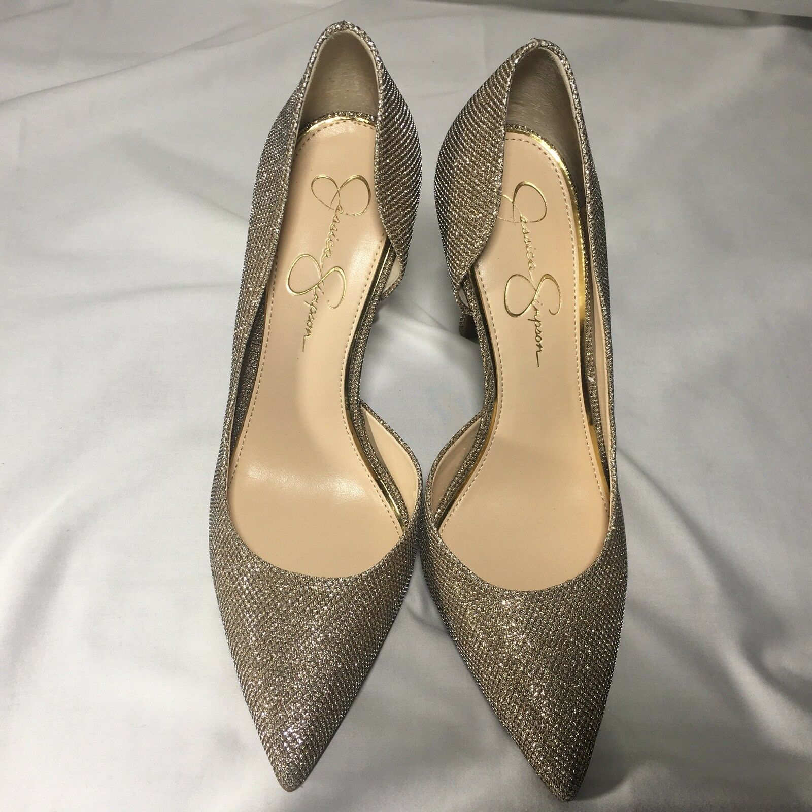 Jessica Simpson Claudette 10 M Soft Gold Shimmer Pointed toe Stiletto Pump New