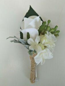 Silk Wedding Flower Onhole White