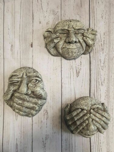 NEW Hear See /& Speak No Evil Set Of 3 Gargoyle Wall Plaques Garden Outdoor Ugly