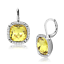 379 SIMULATED DIAMOND EARRINGS YELLOW STAINLESS STEEL DANGLE  LEVERBACK CITRINE