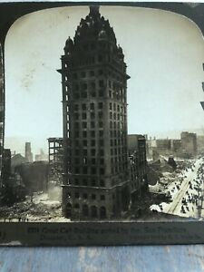 Antique-Stereoview-Card-Photo-SAN-FRANCISCO-EARTHQUAKE-GREAT-CALL-BUILDING-FIRE