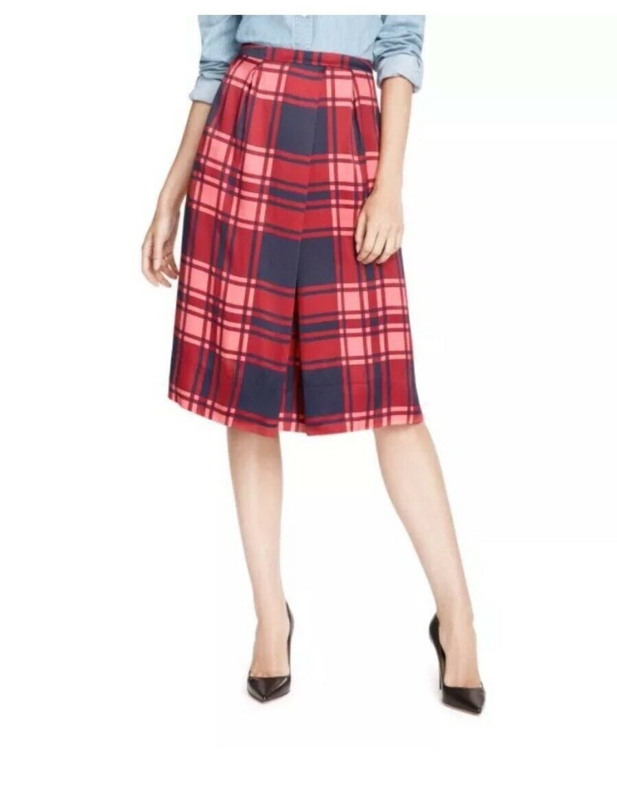 Draper James Road bluees Midi Skirt bluee Red Plaid NWT Size 2