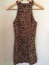 Lepoard mini dress with back zip short club sexy dancer size S