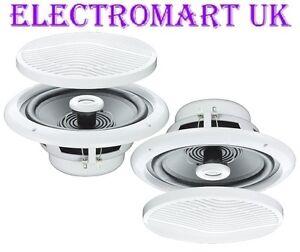 Moisture resistant full range ceiling speakers 5 80w bathroom kitchen shower ebay for Ceiling speakers for bathroom