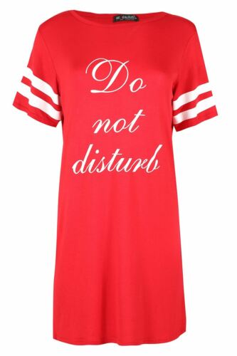 Ladies Stretchy Do Not Disturb Casual Night Top Womens Cap Stripe Sleeves Dress