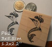 P60 Mermaid Rubber Stamp