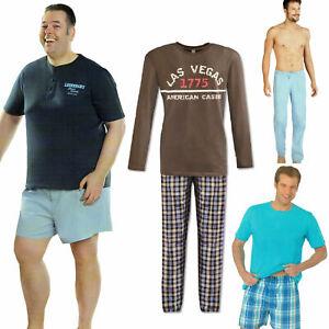 Herren-Schlafhose-Schlafanzug-Pyjama-Shorty-100-Baumwolle-Nachtwaesche-gewebt