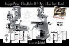 Bridgeport Series 1 Milling Machine M 450 Service Manual Parts Lists Schematics