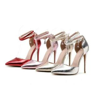 Women-039-s-Party-Shoes-Synthetic-Leather-High-Heels-Summer-Ankle-Strap-Sandals-Size