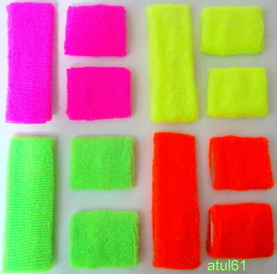 80s Towelling Headband Various Neon Colours