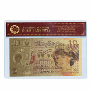 WR-24K-Gold-Great-Britain-10-Pounds-2017-New-Polymer-Banknote-Princess-Diana-COA