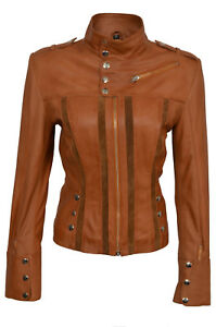 Leather Fashion Ladies Tan Biker Designer Casual Style Real Jacket Beatrice Soft xazq6Fw6