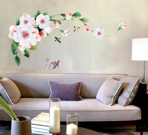 Wall Stickers Rose Vine Floral Wall Tattoo Art Decal Home Decor Living Room
