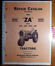 Minneapolis Moline Za Zau Zas Zan Zae Tractor Repair Parts Catalog Manual R1072d