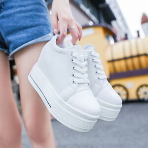 New-Women-Platform-Hidden-Wedge-high-heel-Canvas-Lace-up-Creepers-Sneakers-Boots