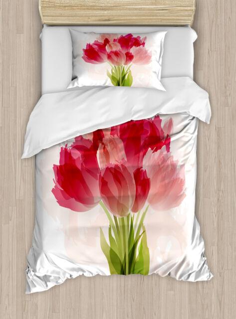 Flower Duvet Cover Set With Pillow Shams Watercolor Tulip Bouquet Print For Sale Online