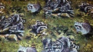 WELDING CAP MADE Raccoons in the woods  FABRIC