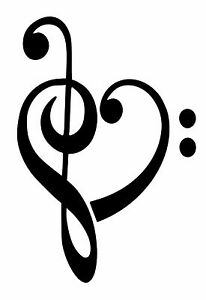 treble bass clef heart 23x15 5 music removable vinyl wall art decal rh ebay com treble bass heart cake topper treble bass heart necklace
