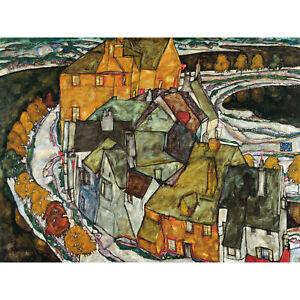 Egon-Schiele-Crescent-Of-Houses-II-Island-Town-Large-Canvas-Art-Print