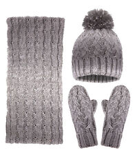 3 Pcs Women Lady Adult Winter Knit Set Beanie Ski Hat Scarf and Gloves 8569f3328