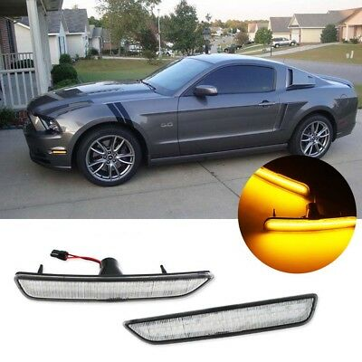 Ford Mustang 2010 2011 2012 2013 2014 LED Rear Side Marker w// Red Lights Smoked