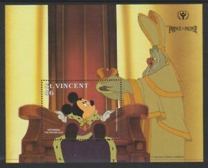 1991 Disney Prince & The Pauper Sg Ms1789a At Any Cost Mnh Mickey Sheet St Vincent